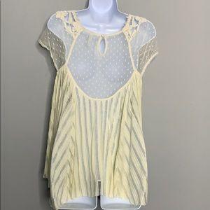 Free People White Yellow Lace Crochet E3 0420